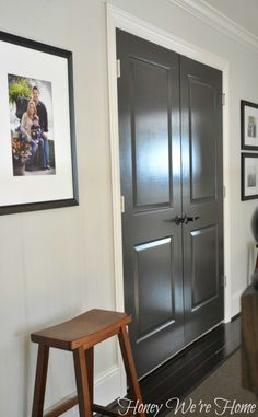 Painted Dark Grey Doors-- two coats of paint- Sherwin Williams Brown Fox in semi-gloss for extra shine... The paint color is a warm dark gray with a hint of brown in it.