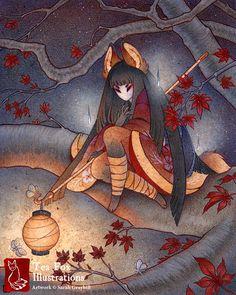 Lantern Light / Kitsune Yokai Fox / от TeaFoxIllustrations на Etsy