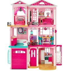Barbie Dream House Dollhouse Product Description: Anything is possible with barbie and her pink dream house! Three floors, seven rooms and a working elevator provide the perfect setting for all kinds