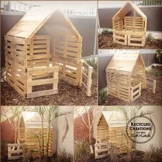 Simple, elegant and rustic handmade pallet cubby houses These simple pallet cubby houses can be made to your exact specifications from what size and colours . Kids Outdoor Play, Outdoor Play Spaces, Backyard For Kids, Backyard Projects, Diy Pallet Projects, Outdoor Projects, Outdoor Toys, Pallet Tree Houses, Pallet House