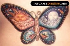 Tatuajes de Mariposa Con Sol Y Luna