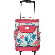 Tropix offers the spirit of summer with coastal style. This rolling cooler features a tropical flamingo and leaf design, 600-denier polyester, insulated main compartment, lined interior, small exterior compartment, two mesh side pockets, in-line wheels, telescoping handle, and two top handles. Measures 11''L x 12''W x 15''H.