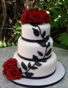 White, black and red Wedding Cake