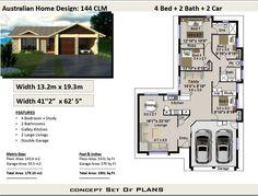 Narrow Lot 144 : 4 Bed House Plan Australia :179.0 m2 | House Plan Set Duplex Floor Plans, Floor Plan 4 Bedroom, Modern House Floor Plans, Narrow Lot House Plans, 4 Bedroom House Plans, House Plans One Story, Family House Plans, Cottage House Plans, Country House Plans