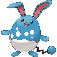 Azumarill - 184 - Its long ears are superb sensors. It can distinguish the movements of living things on riverbeds. The bubble-like pattern on its stomach helps it camouflage itself when it's in the water.