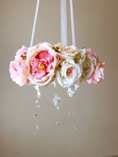 Nursery mobile Baby mobile Floral mobile Flower by PaulettaStore