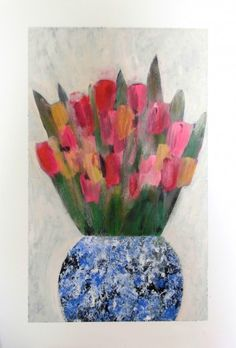 Mixed Tulips in Ginger Jar. Still Life art by Jan Rippingham