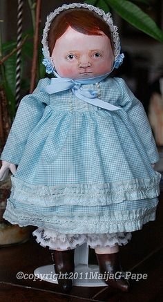 Antique style cloth doll by maija007, via Flickr