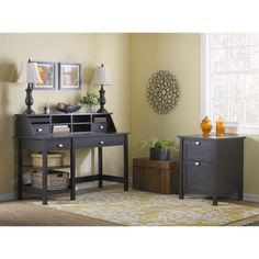 Functionality and style combine in this Broadview open storage desk. Made from laminate with a rich espresso finish, the desk is a fashionable as well as a practical addition to your home.