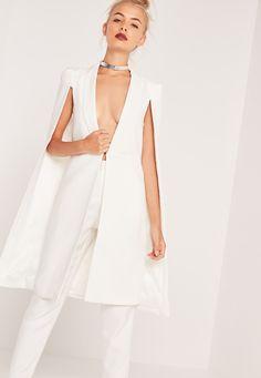 Missguided - Blazer-cape blanc long