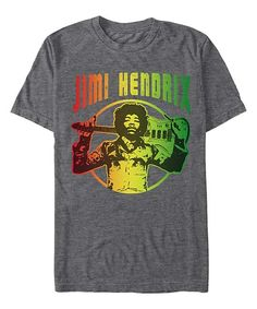 Charcoal 'Jimi Hendrix' Holding Guitar Tee - Men's Regular by Fifth Sun #zulily #zulilyfinds