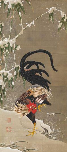 伊藤若冲 「雪中雄鶏図」 江戸時代中期
