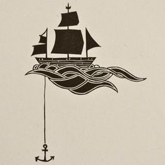 "Anchored Ship Linocut Block Print ""This whimsical print of a ship at sea speaks to the soul's need for adventure and stability. It is part of my series called ""Relics of Our Existence,"" all printed from hand carved blocks on an antique letterpress. """