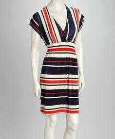 This Navy & Orange Stripe Shirred Empire-Waist Dress - Women is perfect! #zulilyfinds