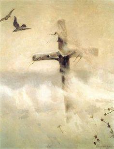 Józef Chełmoński. A Cross in a Blizzard. 1907