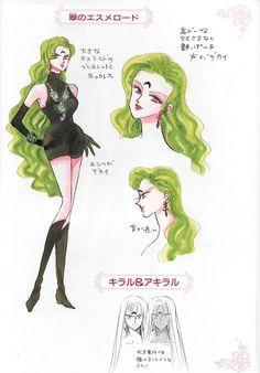 """翠のエスメロードのキャラクターデザイン character design sheet for Green Esmeraude from """"Sailor Moon"""" series by Naoko Takeuchi"""