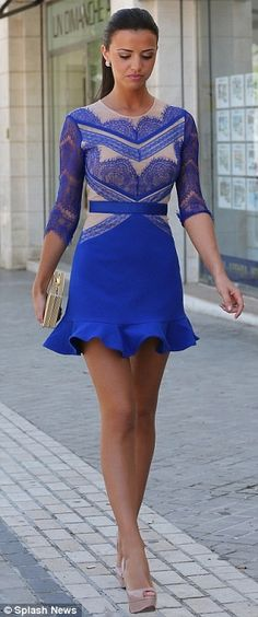 this dress is gorgeous. blue and beige. #style #classy ...