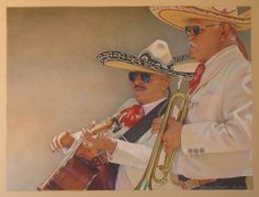 """The Aviators""  colored pencil drawing  Rhonda Bartoe Tucker"