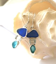 Bright Turquoise and Blue Sea Glass Earrings, $115.00