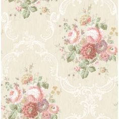 August Grove Marino Cameo Stripe L x W Wallpaper Roll Shabby Chic Wallpaper, Contemporary Cottage, White Appliances, Flower Doodles, Wallpaper Roll, Soft Colors, Cottage Style, Decorative Pillows, Retro