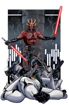 Darth Maul vs. Clone Troopers by Kevin Minor