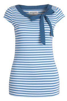 Charlize Stripes Blue par Armedangels (couleur bleu) dans Top manches courtes - Femme - MODETIC - Vêtements en coton bio - mode équitable