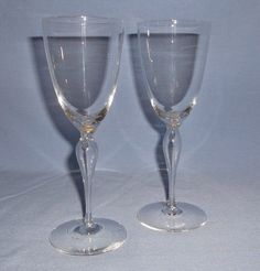 MOUTH BLOWN CRYSTAL CORDIALS (2) - Hollow Stem - Elegant Style! #unknown