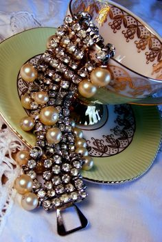 Vintage Rhinestone and Pearls~