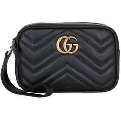 Gucci Women Gg Marmont 2.0 Leather Pouch ($610) ❤ liked on Polyvore featuring bags, handbags, clutches, black, gucci purses, pouch purse, leather purses, gucci pochette and gucci pouch