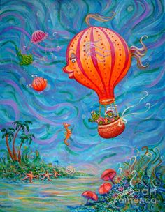 Floating Under The Sea Painting by Dee Davis - Floating Under The Sea Fine Art Prints and Posters for Sale
