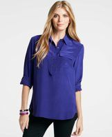 Silk Popover Camp Shirt in Deep Myrtille Blue.  Love this year round color & fabric!