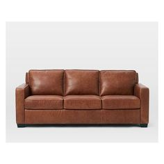 "West Elm Henry 84"" Leather Sofa, Tobacco ($2,000) ❤ liked on Polyvore featuring home, furniture, sofas, brown, west elm sofa, brown sofa, brown leather sofa, brown couch and west elm furniture"