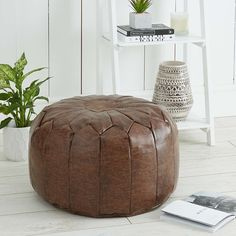Moroccan Stitched Pouffe Footstool Leather Pouf Large Seat Home Lounge Moroccan Pouffe, Moroccan Leather Pouf, Diy Ottoman, Leather Ottoman, Brown Leather Footstool, Floor Pillows Kids, Moroccan Decor Living Room, Lounge, Pillows