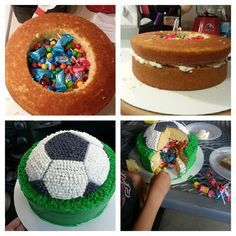 Another variation on the soccer ball pinata cake