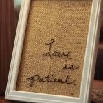 Indelible pen on glass, backed by hessian — Saved By Love Creations