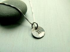 Letter B Stamped Necklace Disc Silver Initial by SunshineOnWater