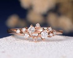 Diamond Cluster Ring Twig Engagement Ring Floral Unique Wedding Band Snowflake Rose Gold Dainty Flower Mini Gift Anniversary Promise Women