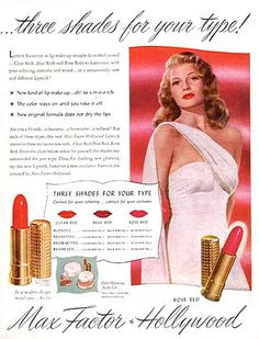 Vintage Makeup Rita Hayworth in Max Factor ad - selling their three shades of red lipstick! haha Complete with chart for your hair type! Vintage Makeup Ads, Retro Makeup, Vintage Beauty, Vintage Ads, 1940s Makeup, Vintage Vanity, Rita Hayworth, Max Factor, Charlotte Tilbury