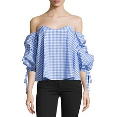 Caroline Constas Gabriella Off-The-Shoulder Gingham Bustier Top (€375) ❤ liked on Polyvore featuring tops, periwinkle gingha, off the shoulder ruffle top, flounce top, off shoulder tops, sweetheart neckline tops and bustier tops