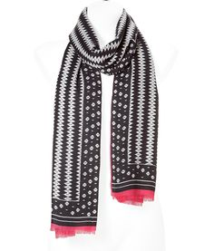 Black/Rose Patterned Cashmere Scarf