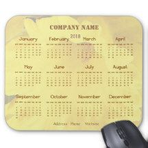 Yellow Business Company Promotional 2018 Calendar Mouse Pad
