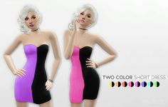 TWO COLOR SHORT DRESS at Leeloo via Sims 4 Updates
