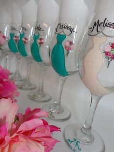 THE ORIGINAL Hand Painted Personalized Bridesmaid Dress Wine Glasses - CUSTOMIZED To Your Dresses via Etsy