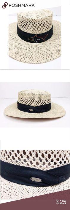 d977caf92db Greg Norman Shark Golf Club Straw Panama Hat