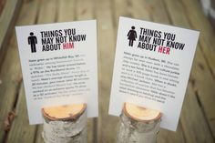 Him & Her facts to place around... something for the people who don't know everyone to talk about with the crazy families :)