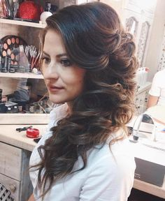 Curly Side Downdo For Long Hair