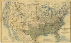 1862 Map of the United States of America, Showing the Boundaries of the Union and Confederate Geographical Divisions :: New Mexico Waters; Arizona during Confederacy era.
