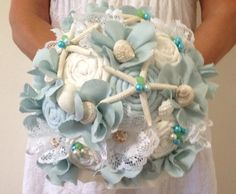 Beach Wedding Bouquet Shell Wedding Bouquet Fabric by LCFloral, $115.00