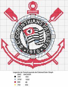 Artes de Vivi - Artesanatos em Geral: Gráfico de Bordado em Ponto Cruz - Corinthians Crochet Football, C2c, Chicago Cubs Logo, Hama Beads, Couture, Beading Patterns, Cross Stitch Embroidery, Handicraft, Diy And Crafts