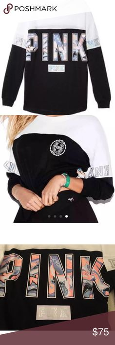 PINK Victoria's Secret L Large Campus Varsity Crew PINK Victoria's Secret RARE L Large Campus Varsity Crew Tunic Black White BLING the pictures shows the one I own, which is also new the one you get will be NEW IN BAG PINK Victoria's Secret Sweaters Crew & Scoop Necks